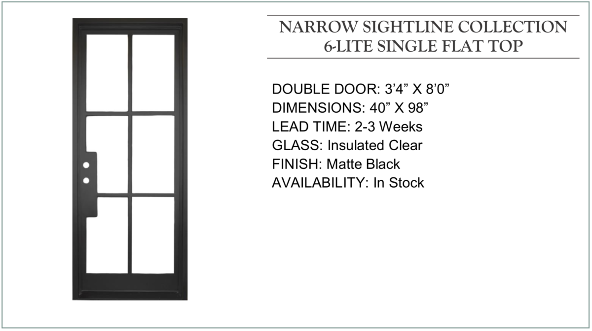 Narrow Sightline Iron Door Collection